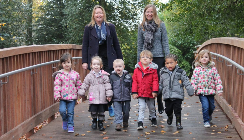Nursery children help open Town Gardens new footbridge in Swindon