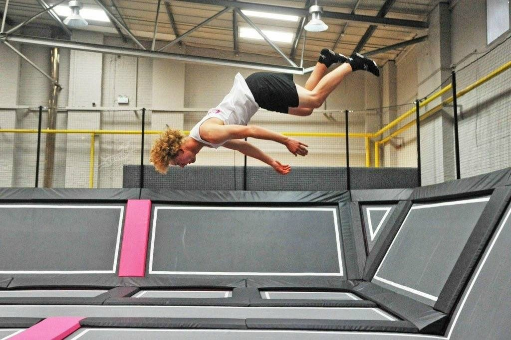 Woman jumping at Freedog Swindon