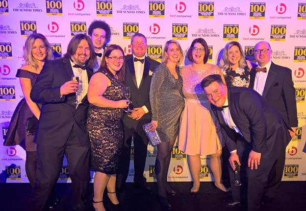 the-excalibur-team-at-the-sunday-times-best-100-companies-awards