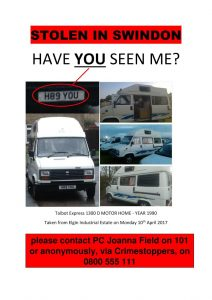 unique camper van stolen swindon