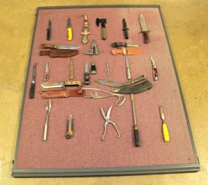 Wiltshire Police collected knives display