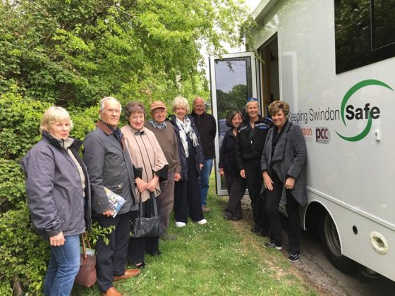 PCSO Juliet Evans and some residents at Inglesham