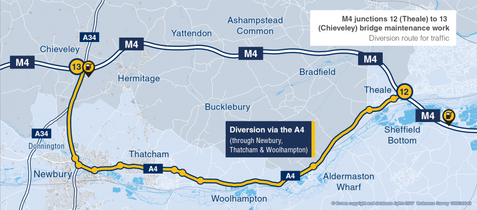 Diversion route for the M4 weekend closure