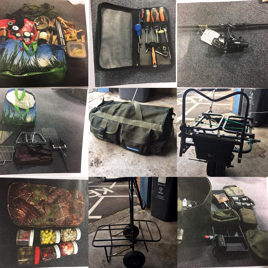 Photos of stolen fishing gear found in wanborough for Fishing gadgets 2017