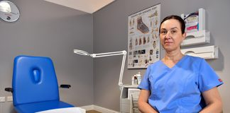 Nina Shilova of Professional Footcare at her practice in The Brunel Shopping Centre, Swindon Town Centre