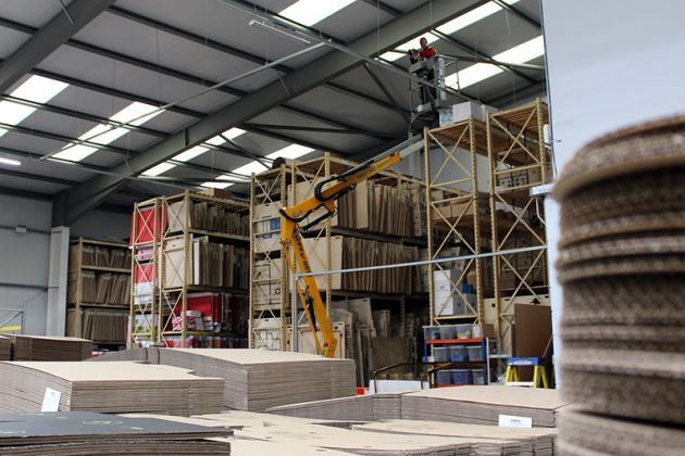 Contractors working on upgrading lights at GWP's Cricklade production facility