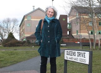 Cllr Cathy Martyn at the site of the planned £30m regeneration of Queens Drive