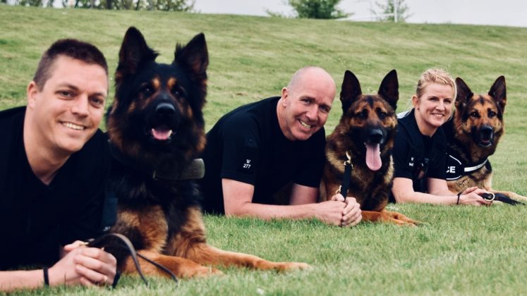 Left to right is PC Jon Norton, PD Gunnar, PC Steve Duffy, PD Vinnie, PC Cindy Hargreave, PD Tyke.