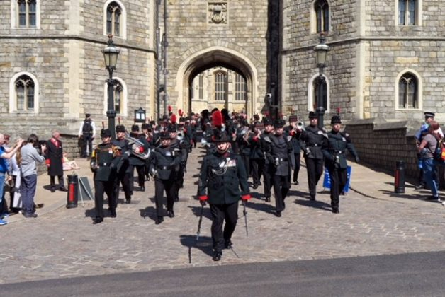 Waterloo Band and Bugles at changing of the guard Windsor 5 May 2018