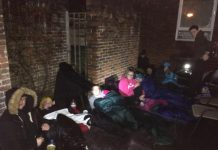 Cadets sleeping out in the rain