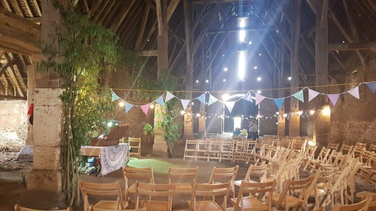 Barn interior with chairs