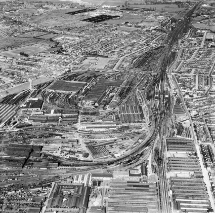 Swindon Railway Village from the air, 1954.