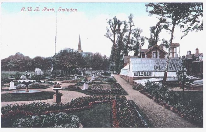 GWR Park, Swindon. Historic postcard.