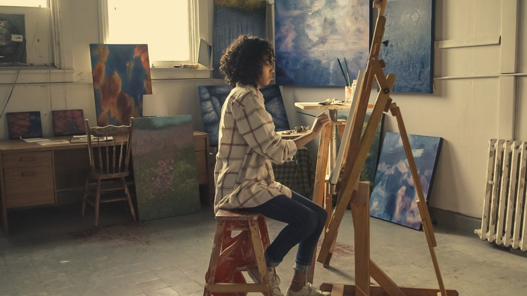 women painting at home
